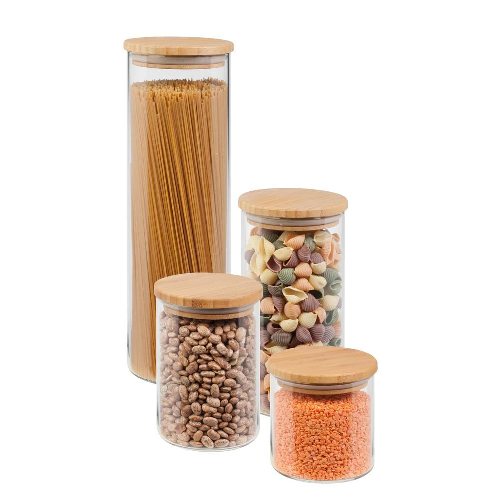 4-Piece 450ml, 700ml, 1000ml and 1650ml Glass Jar Storage Set with