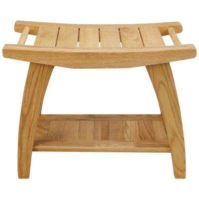 Tao 1-Piece Natural (Oil) Shower Bench with Solid American White Oak