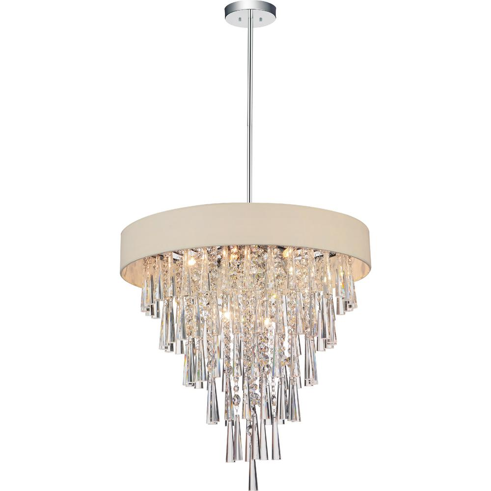 CWI Lighting Franca 8-Light Chrome Chandelier With Beige