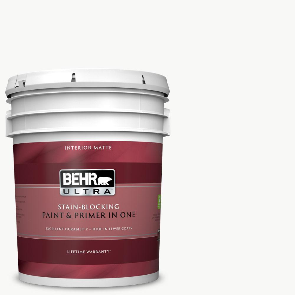 Behr Ultra 5 Gal Ultra Pure White Flat Matte Interior Paint And Primer In One