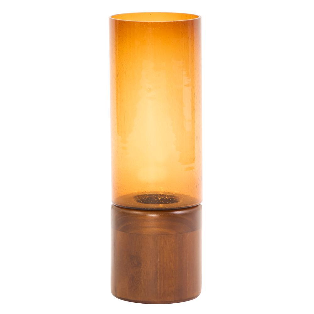Amber Glass Candle Holder on Wood Base Large