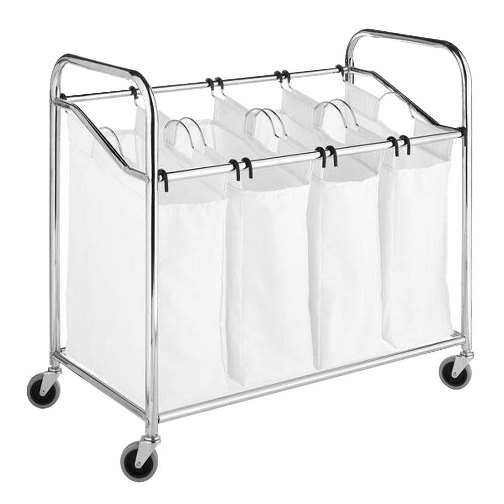 Home Decorators Collection Chrome & Canvas 4-Section Laundry Sorter in White/Chrome