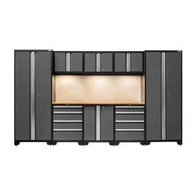 Bold 3.0 77 in. H x 132 in. W x 18 in. D 24-Gauge Welded Steel Bamboo Worktop Cabinet Set in Gray (9-Piece)