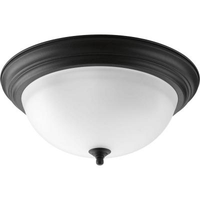 15.25 in. 3-Light Forged Black Flush Mount with Alabaster Glass