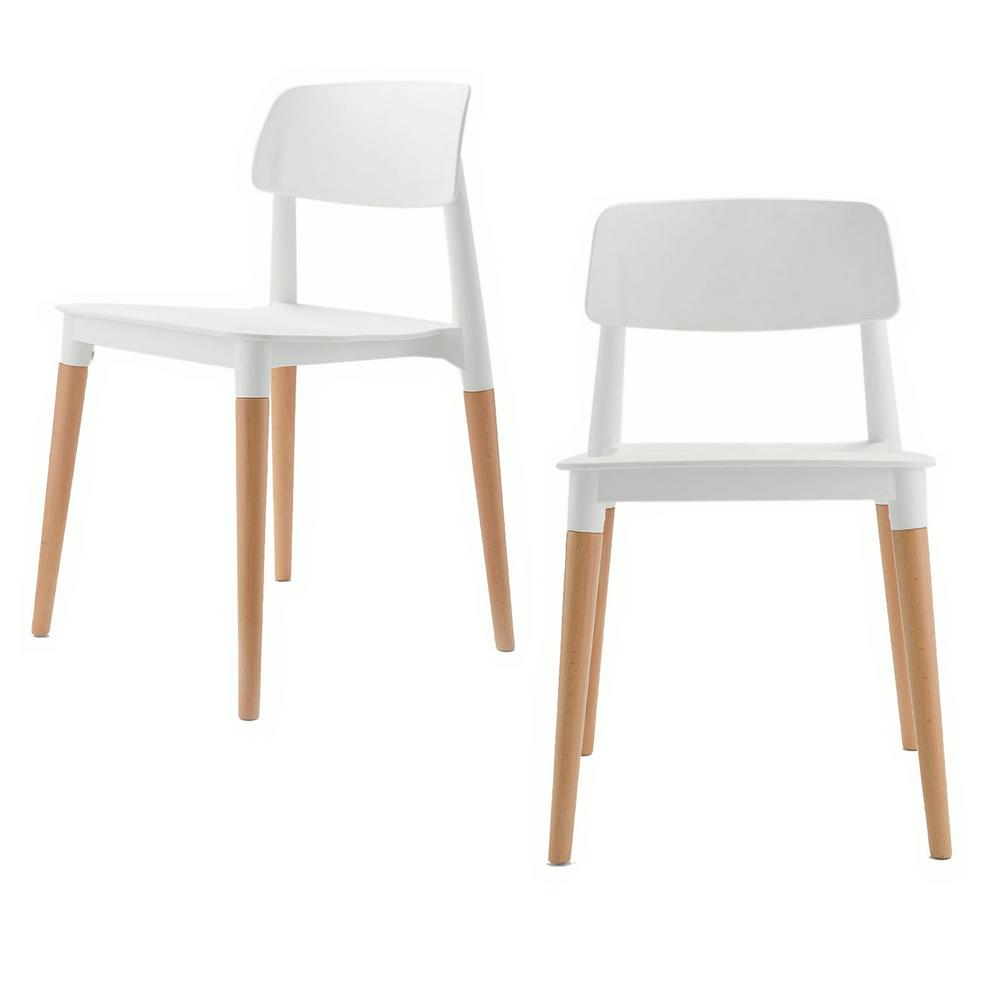 Cozyblock Bel Series White Modern Accent Dining Side Chair With Beech Wood Leg Set Of