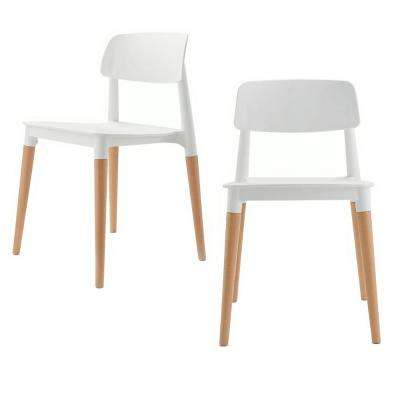 Bel Series White Modern Accent Dining Side Chair with Beech Wood Leg (Set of 2)