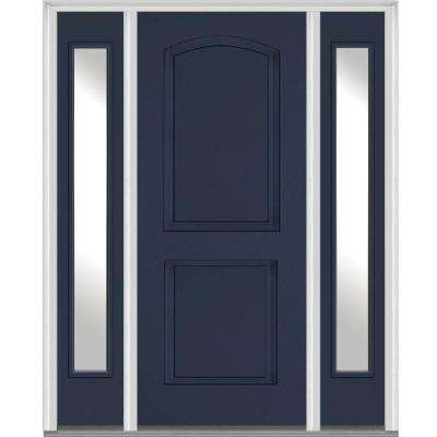 64.5 in. x 81.75 in. Left Hand Inswing 2-Panel Arch Painted Fiberglass Smooth Prehung Front Door with Sidelites