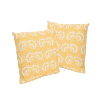 Sea Shells Beige and Orange Square Outdoor Throw Pillows (Set of 2)