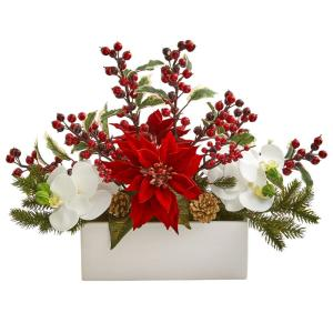 Phalaenopsis Orchid Poinsettia and Holly Berry Artificial Arrangement