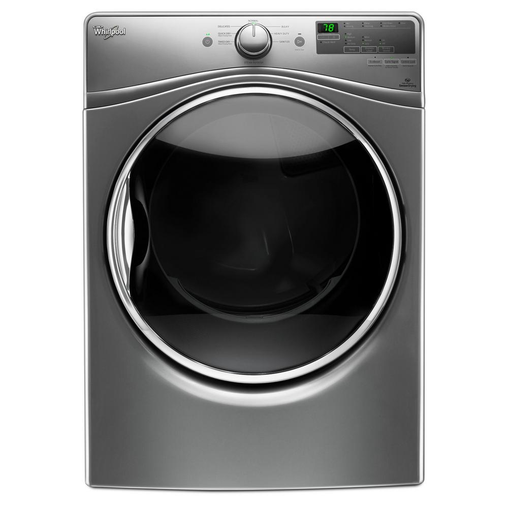 Whirlpool 7 4 Cu Ft 240 Volt Stackable Chrome Shadow Electric Vented Dryer With