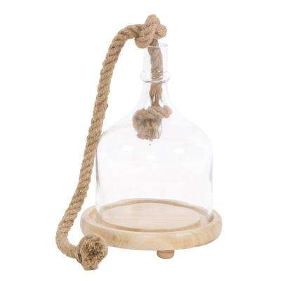Clear Glass Bell Shaped Terrarium on Wooden Base - Small
