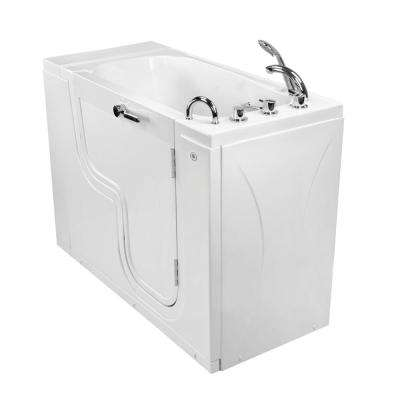 Wheelchair Transfer26 52 in. Acrylic Walk in Soaking Tub in White with Faucet Set, Heated Seat and RHS 2 in. Dual Drain