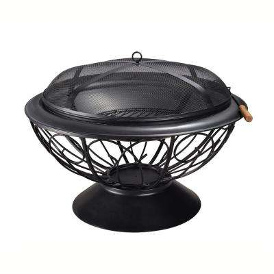 30 in. x 22 in. Round Steel Wood Burning Outdoor Fire Pit in Black