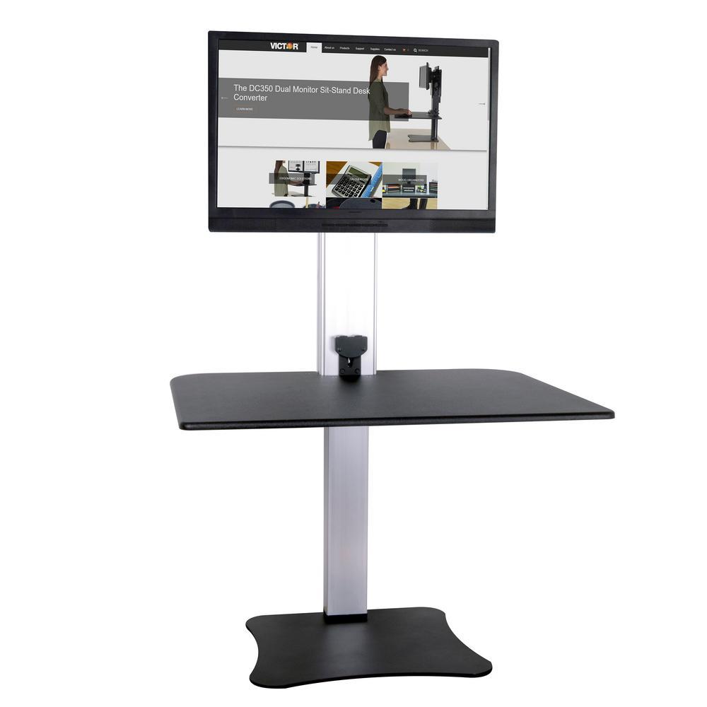 Single Monitor Standing Desk Black Silver Electric