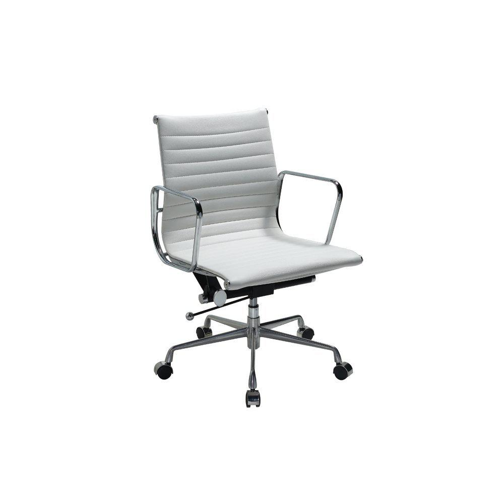 Ellwood Mid-Back Adjustable White Office Chair
