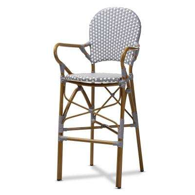 Marguerite 47 in. Gray and White Bar Stool