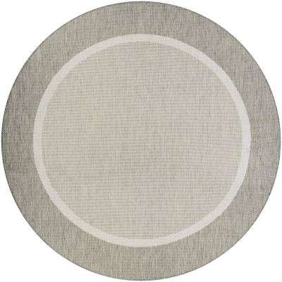 Recife Stria Texture Champagne-Taupe 9 ft. x 9 ft. Round Indoor/Outdoor Area Rug