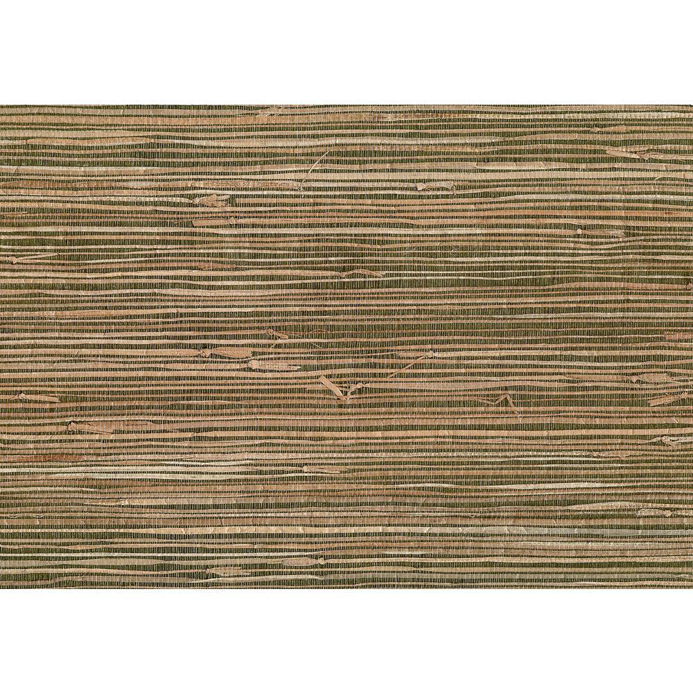 Kenneth James 8 in. x 10 in. Mai Khaki Grasscloth Wallpaper