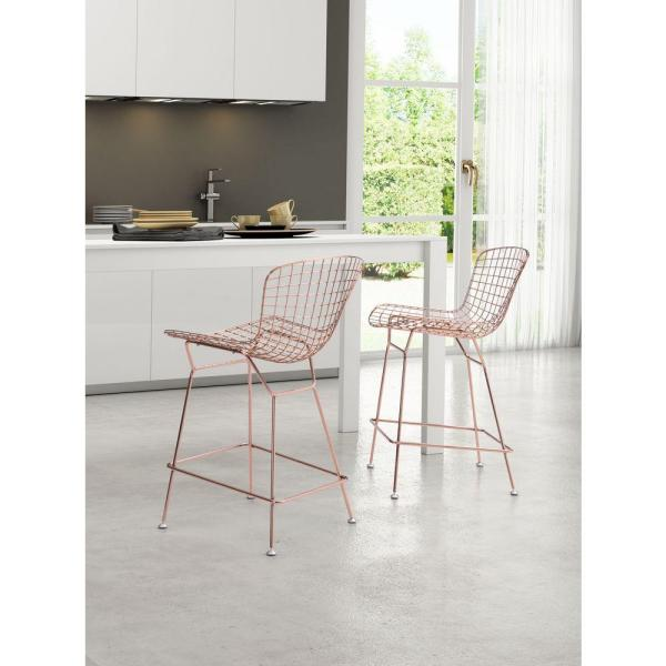 24 in. Rose Gold Bar Stool (Set of 2)