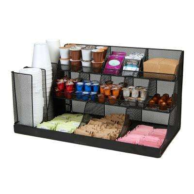 14-Compartment 3-Tier Large Breakroom Condiment Organizer Black Metal Mesh