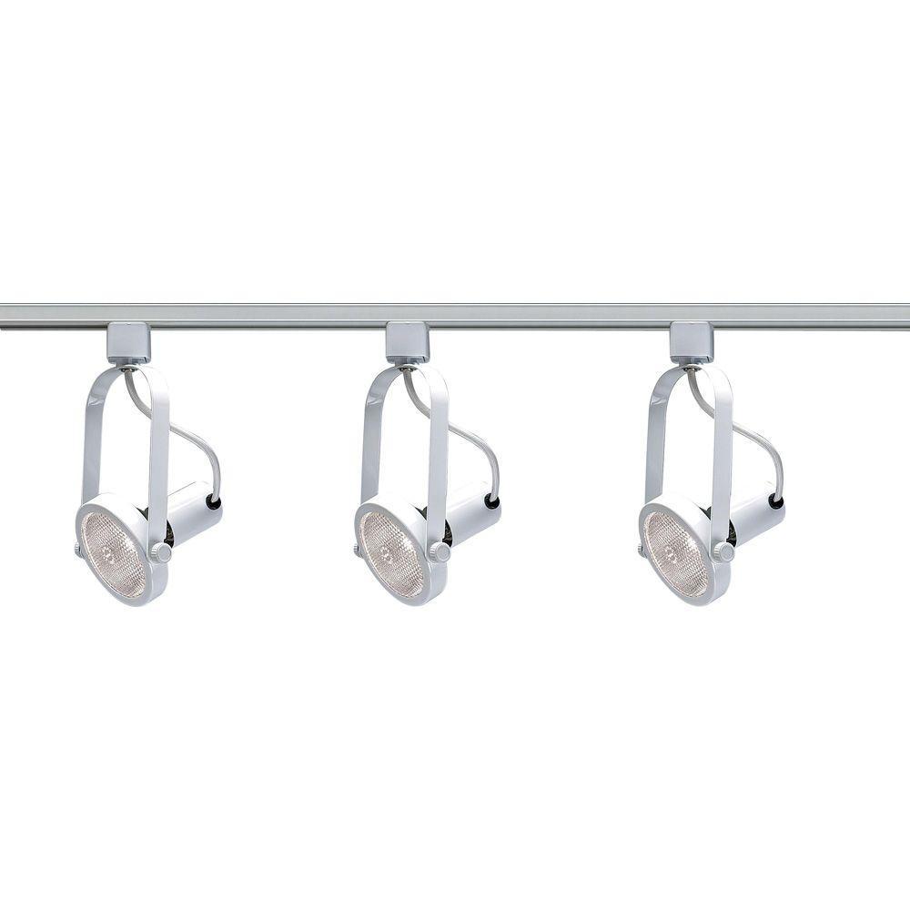 3-Light PAR30 White Gimbal Ring Track Lighting Kit