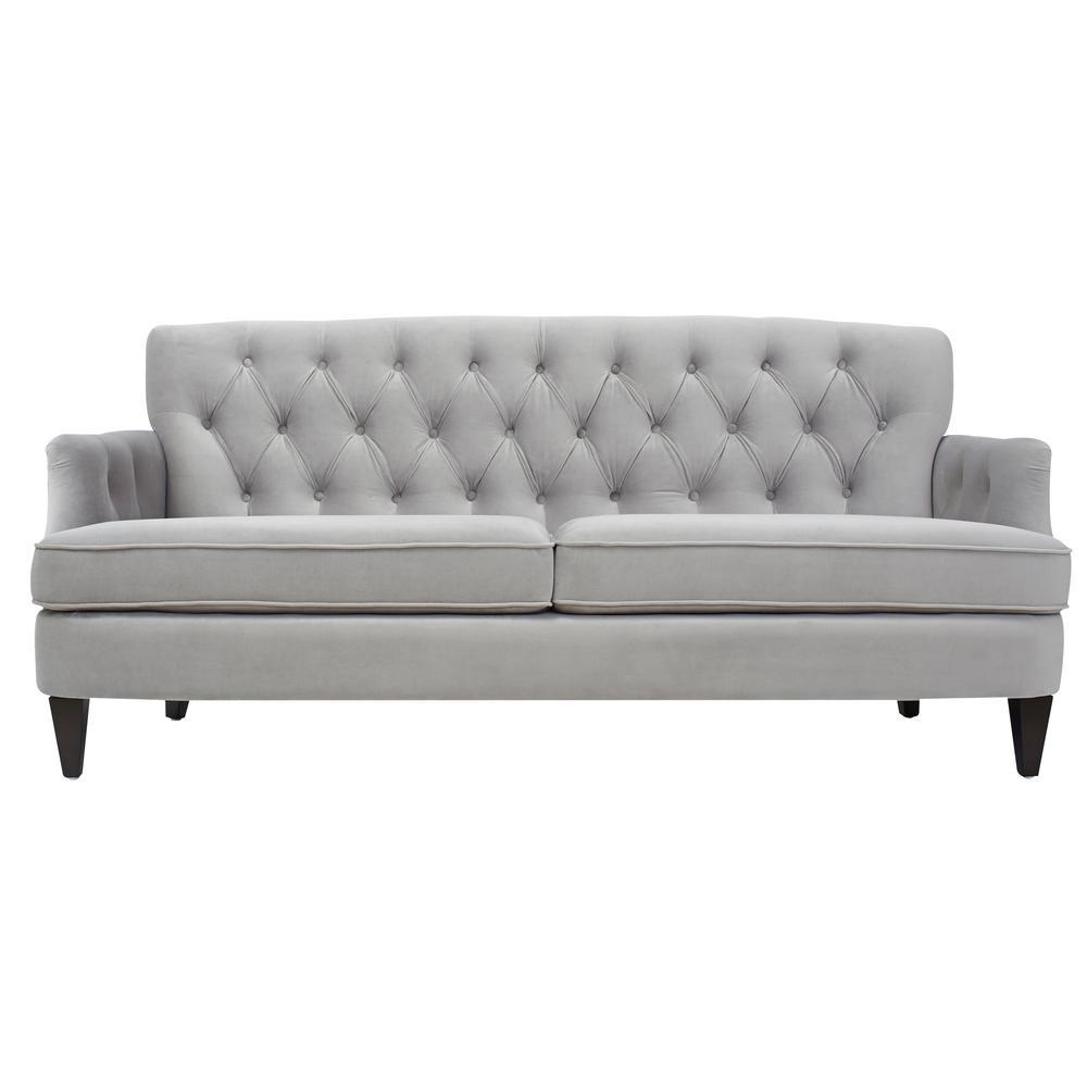 Kelly Opal Grey Hand Tufted Sofa