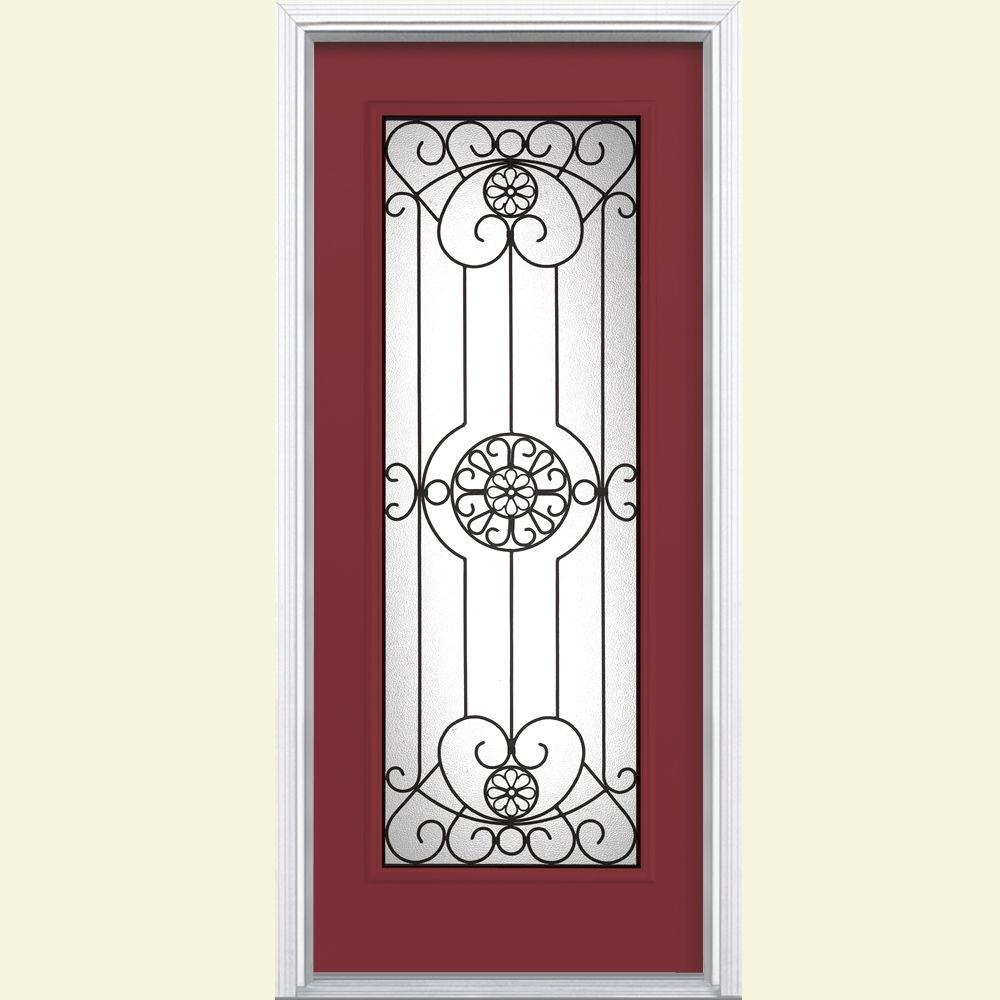 Masonite Santa Maria Full Lite Painted Smooth Fiberglass Prehung Front Door with Brickmold-DISCONTINUED