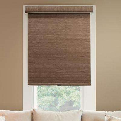 64 in. W x  72 in. L Woodland Brown  Natural Woven Horizontal Roller Shade