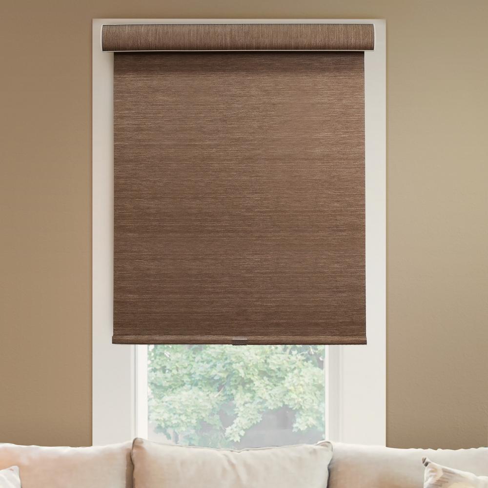 l woodland brown natural woven horizontal roller shade