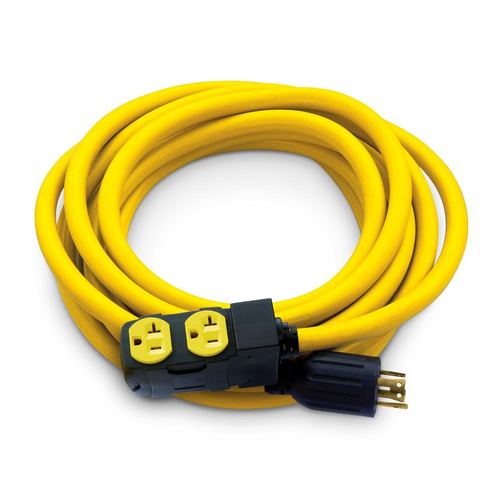 25 ft. NEMA L14-30P to 4x 5-20R Generator Cord, Yellow