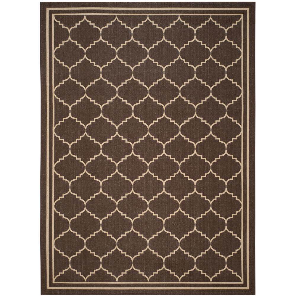 Courtyard Chocolate/Cream 9 ft. x 12 ft. Indoor/Outdoor Area Rug