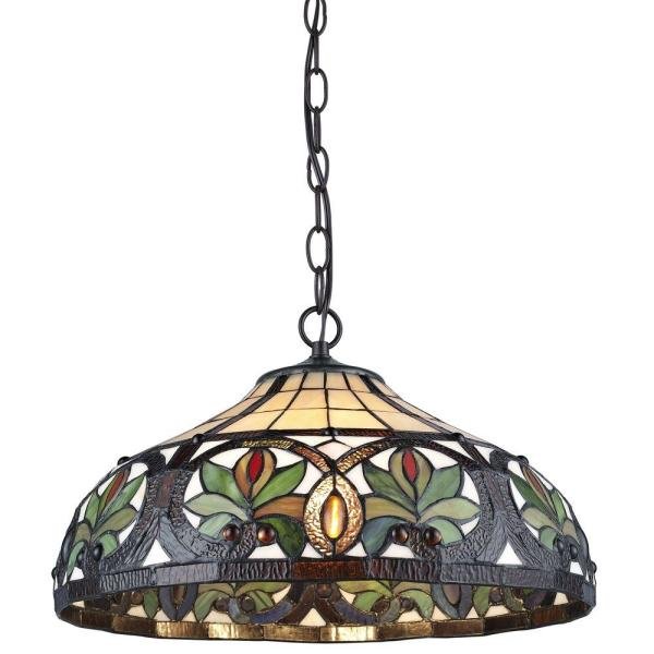 Tiffany 2-Light Sunrise Bronze Pendant Hanging Lamp