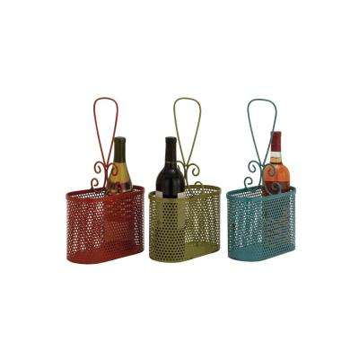 2-Bottle Red, Green, and Emerald Iron Oval Baskets (Set of 3)