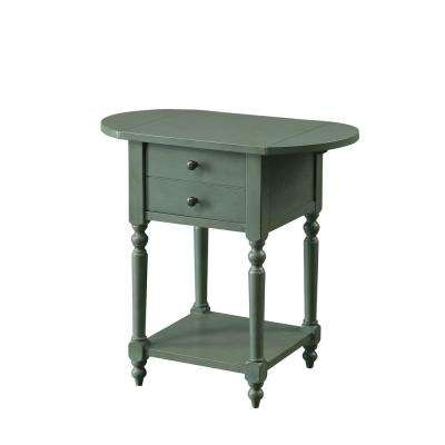 Beadle Antique Teal Side Table with Open Bottom Shelf, Double Drawer Front and Expandable Leaf Top