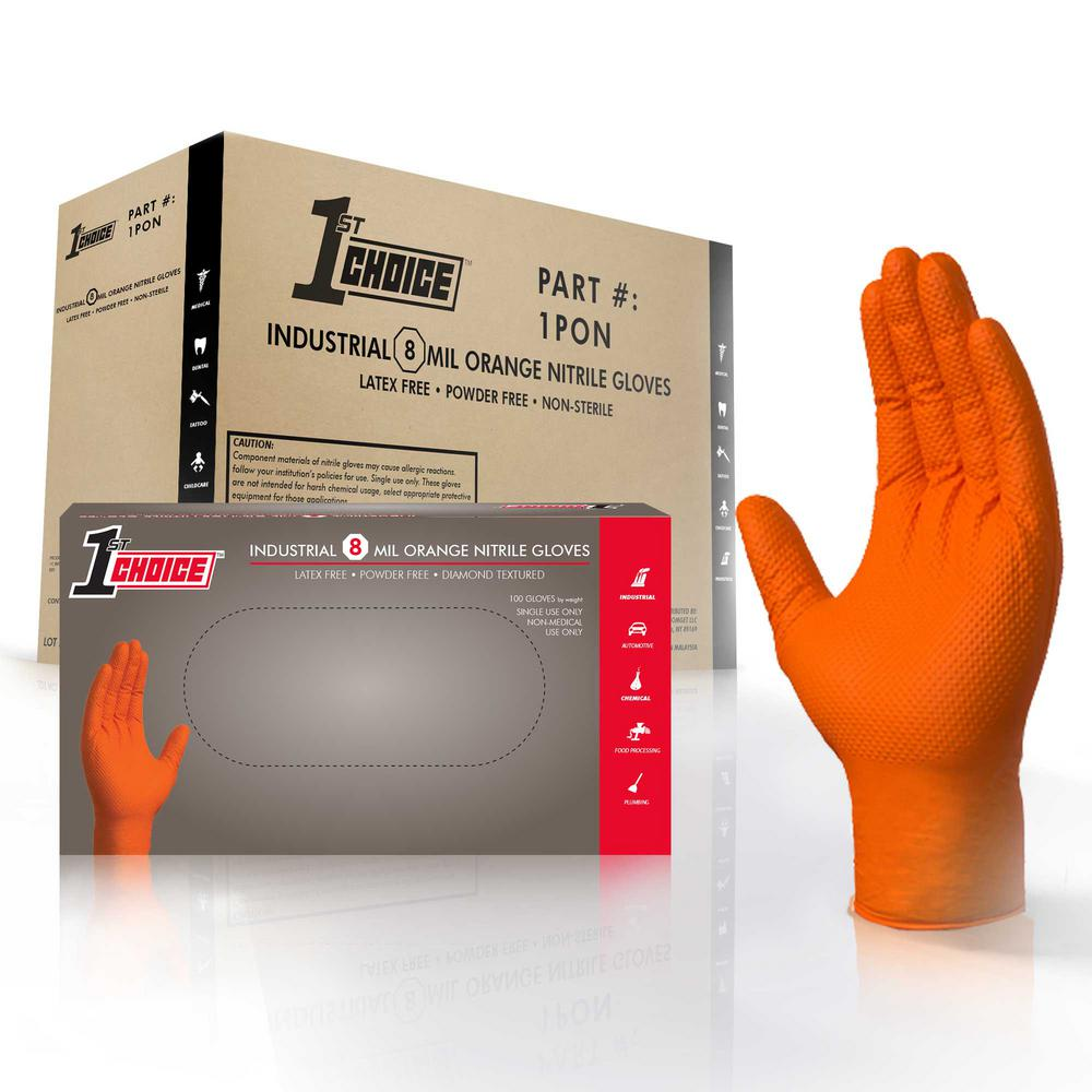 Large Orange Nitrile Industrial Powder-Free Disposable Gloves (4-Pack of 100-Count)