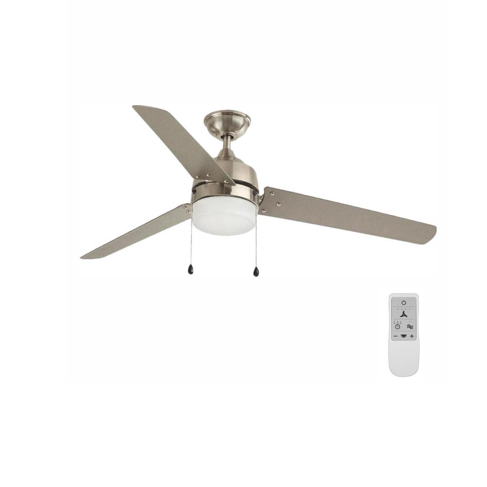 Home Decorators Collection Carrington 60 in. LED Brushed Nickel Ceiling Fan with Light and Remote Control works with Google and Alexa