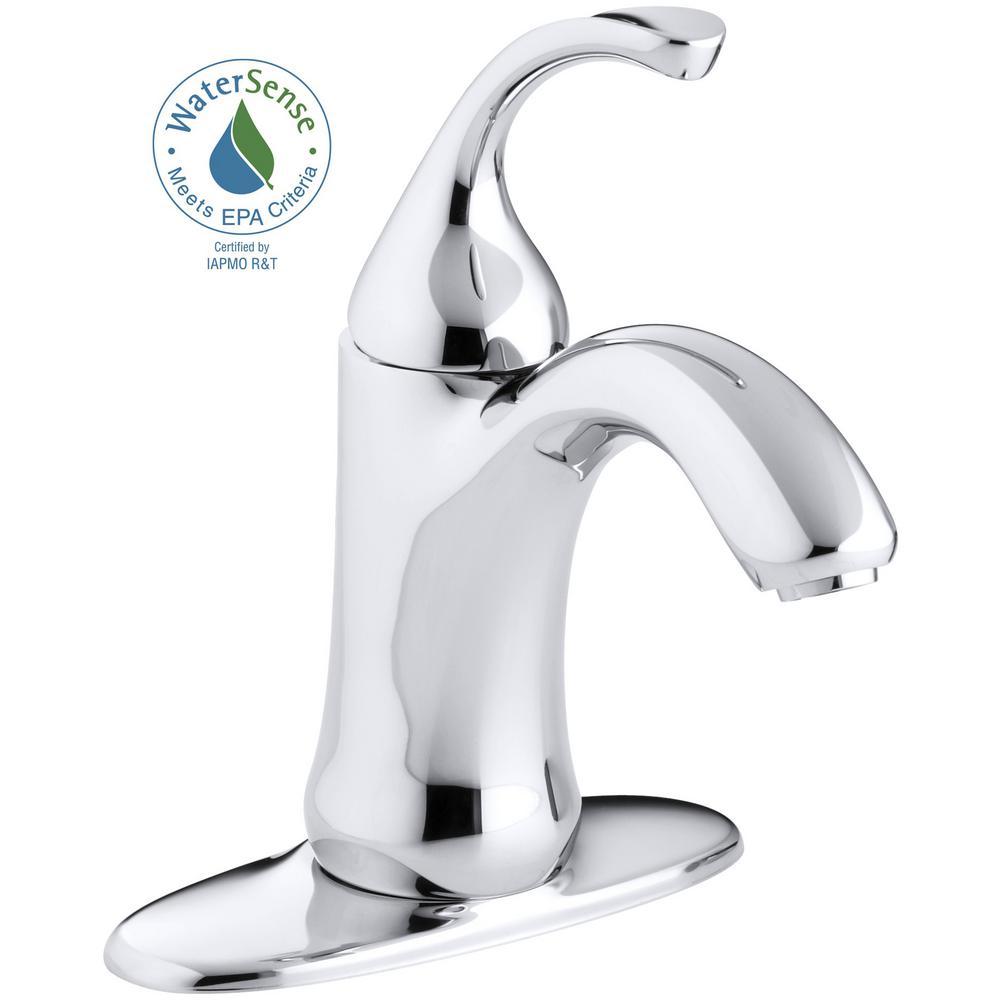 KOHLER Forte Single Hole Single-Handle Low-Arc Water-Saving Bathroom Faucet in Polished Chrome