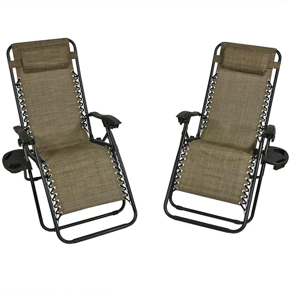 Sunnydaze Decor Zero Gravity Brown Lawn Chairs with Pillow ...