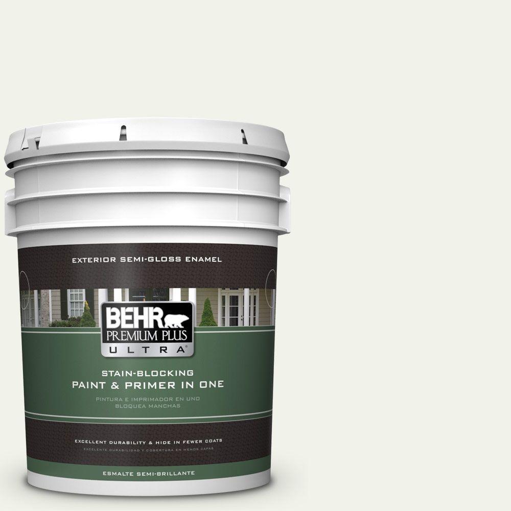 BEHR Premium Plus Ultra 5-gal. #BWC-05 Quiet Whisper Semi-Gloss Enamel Exterior Paint