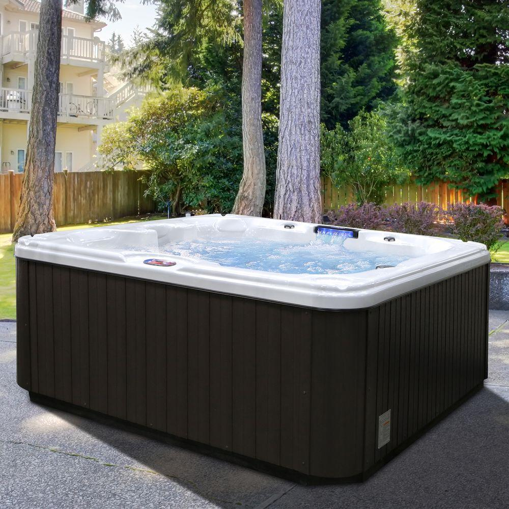 American Spas 7-Person 30-Jet Premium Acrylic Bench Sterling Silver Spa Hot Tub with Backlit LED Waterfall