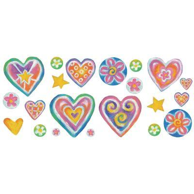 The Wallpaper Company 16.83 In. x 9.75 In. Brightly Colored Sweet Hearts Appliques-DISCONTINUED