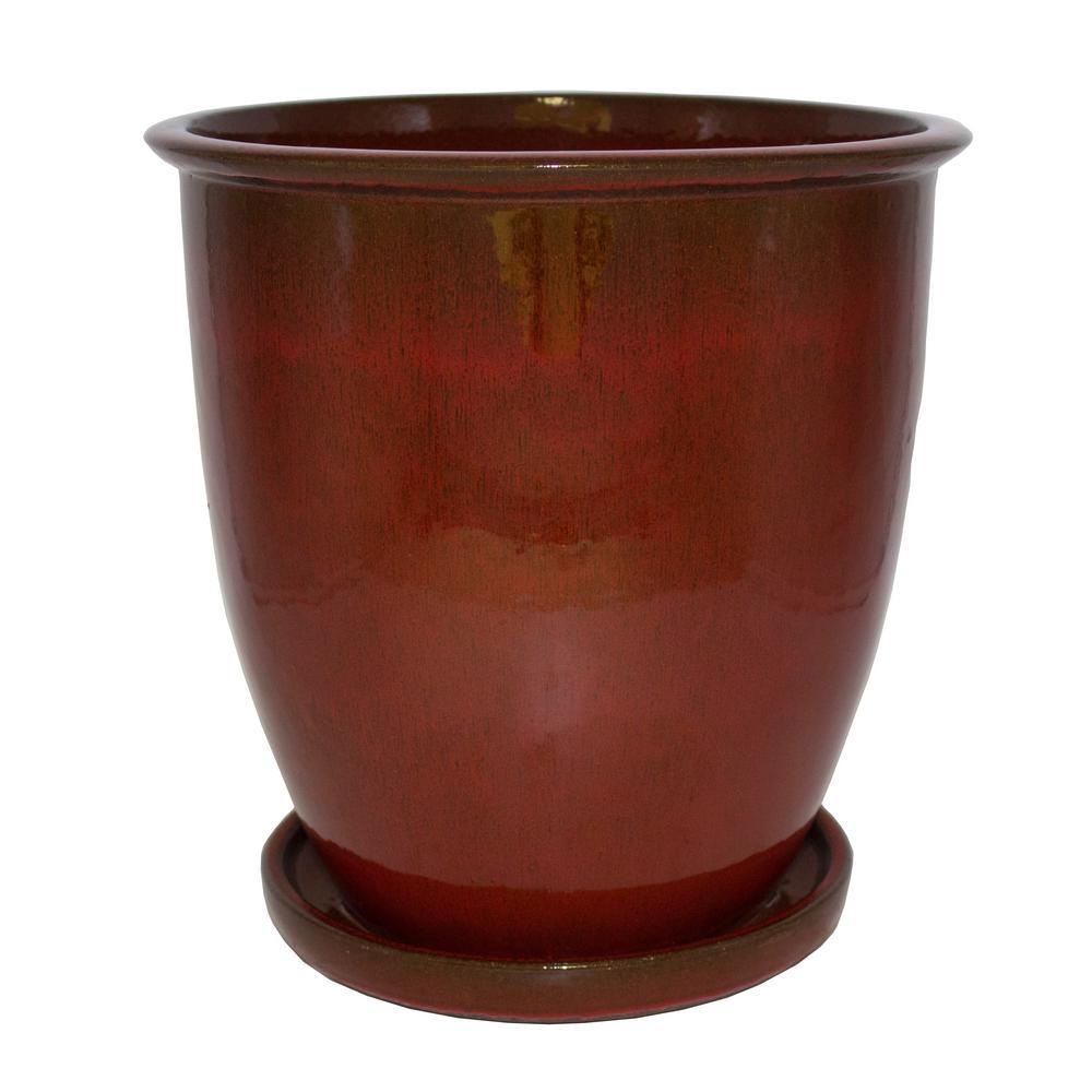 12.5 in. JS Red Ceramic Agave Lip Planter