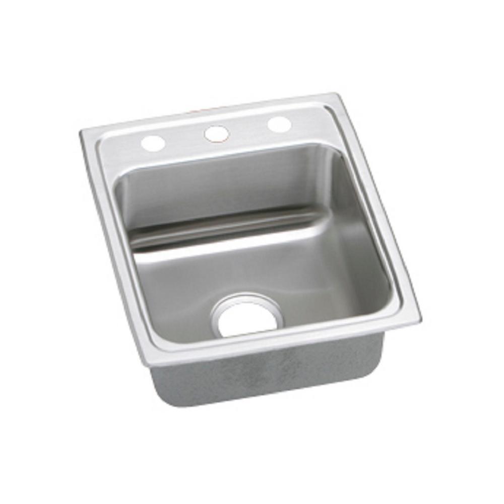 Lustertone Drop-In Stainless Steel 17 in. 3-Hole Single Bowl Kitchen Sink