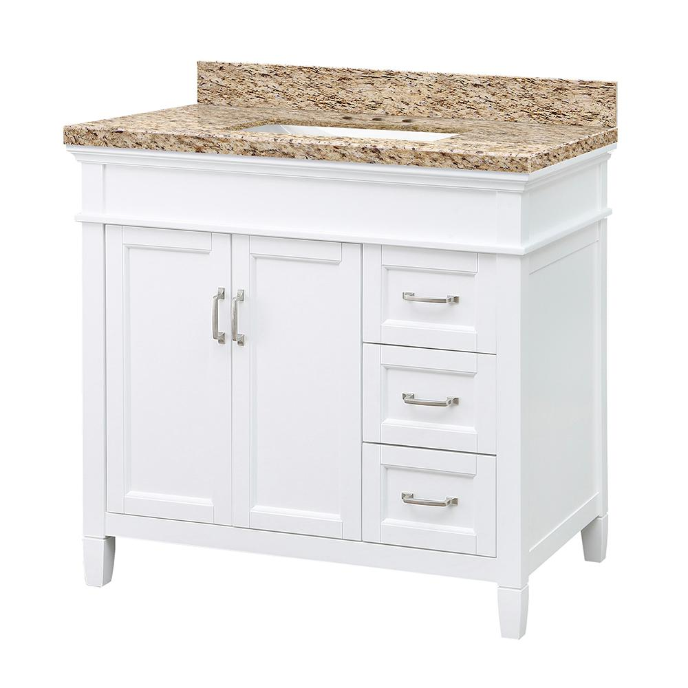 Home Decorators Collection Ashburn 37 in. W x 22 in. D Vanity in White with Granite Vanity Top in Giallo Ornamental with White Sink