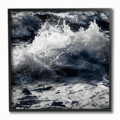 "12 in. x 12 in. ""Blue Ocean Waves Distressed Surface"" by Marcus Prime Framed Wall Art"