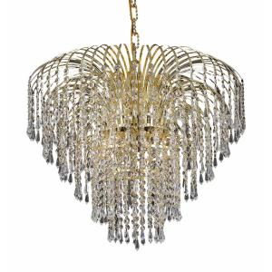 Timeless Home 25 in. L x 25 in. W x 20 in. H 6-Light Gold Transitional Chandelier with Clear Crystal
