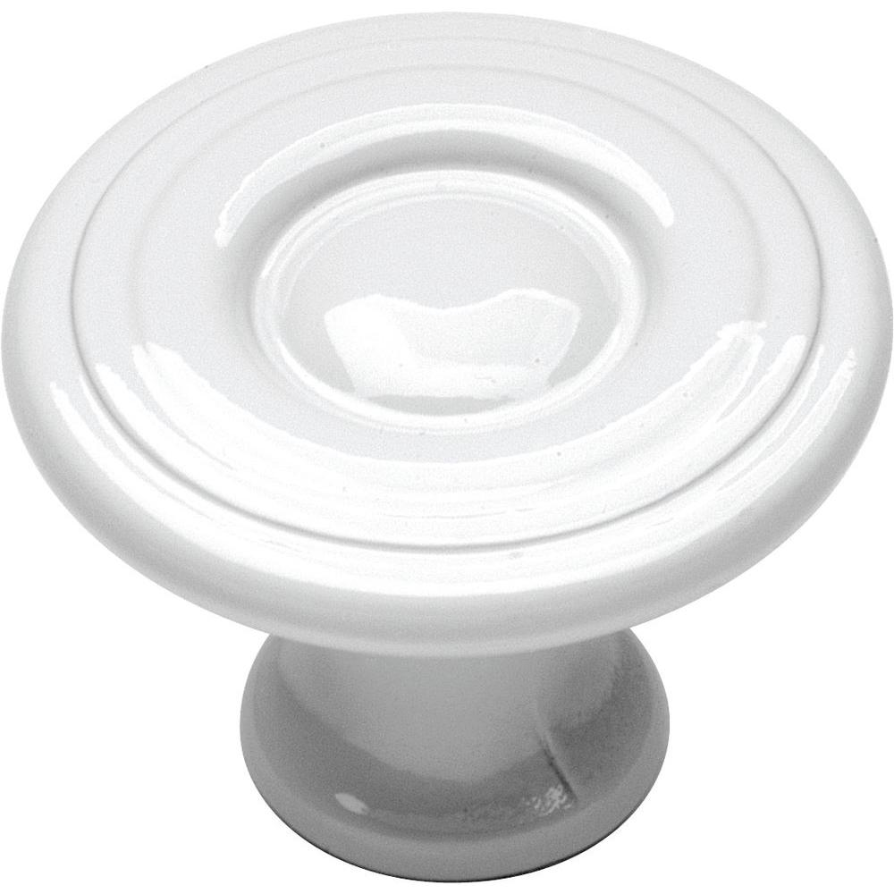 Hickory Hardware Conquest 1-1/8 in. White Cabinet Knob