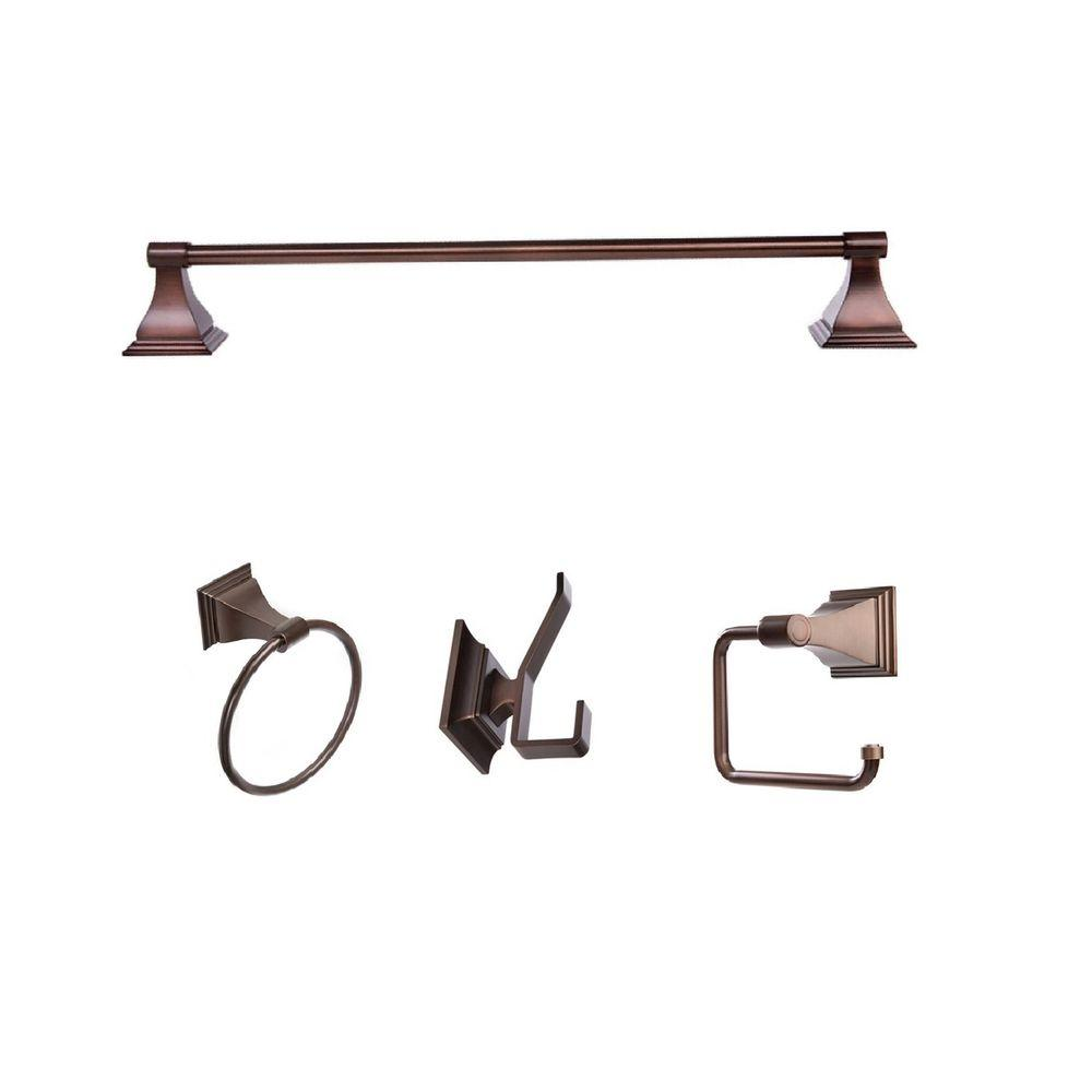 Leonard Collection 4-Piece Bathroom Hardware Kit in Oil-Rubbed Bronze