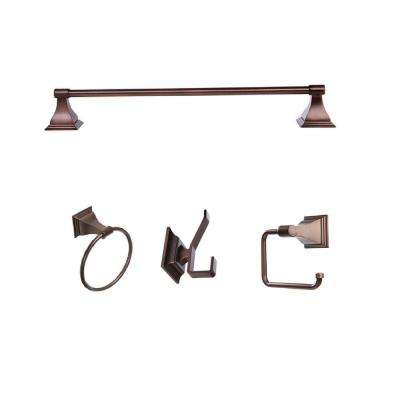 Leonard Collection 4-Piece Bathroom Accessory Kit in Oil-Rubbed Bronze