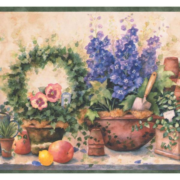 Chesapeake Purple Flowers In Pots Fruits Gardening Tools Farmhouse Prepasted Wallpaper Border Si37232b The Home Depot